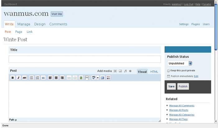wordpress 2.5 write